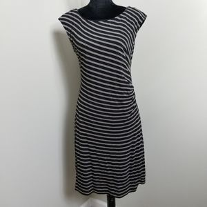 LOFT Black Striped Cap Sleeve Jersey Knit Dress M